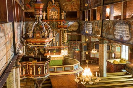 cherubs: Church pulpit in an old Wooden Church Editorial