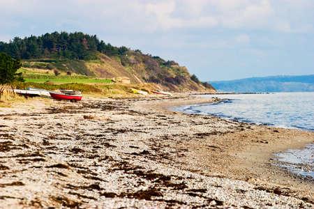 a bathing place: Sandy beach at a beautiful coastline