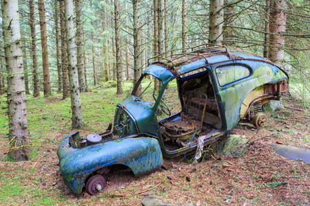 car wreck: Old car wreck in the forest