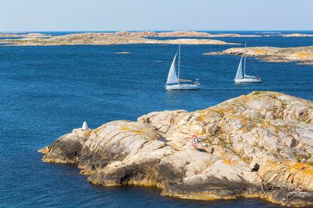 west  coast: iew of rocky archipelago with sailboats on the Swedish west coast Stock Photo