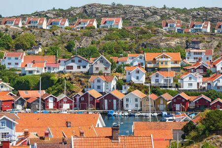 urban idyll: Grundsund, an old fishing village on the Swedish west coast Stock Photo