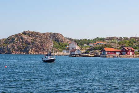 motor boat: Motor boat in the bay at the coastal village
