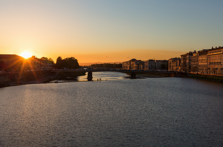 river arno: Sunset over the River Arno in Florence Stock Photo