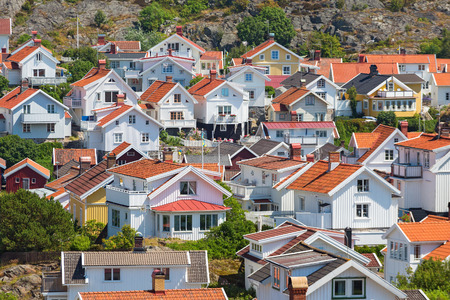 urban idyll: View over the rooftops of a village in Sweden Stock Photo
