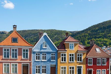 residential idyll: Colourful house facades in Bergen, Norway