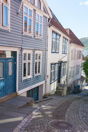 residential idyll: Old wooden house on the street in Bergen, Norway