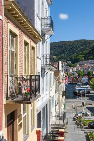 residential idyll: Balconies of the houses at the harbor of Bergen, Norway Editorial