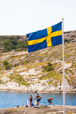 a bathing place: Bathing place in the archipelago with Swedish flag