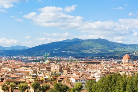View of Florence with mountains