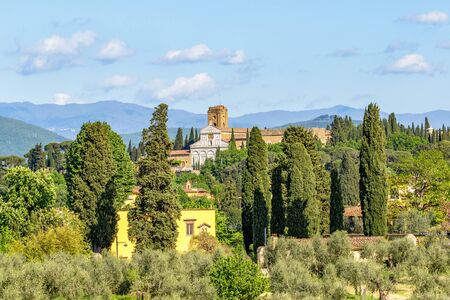 abbazia: Basilica of San Miniato al Monte in Italian rural landscape Stock Photo