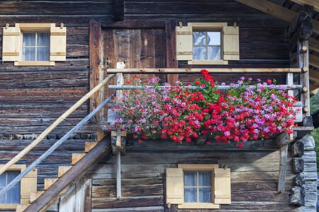 osttirol: Flowering balcony on an old Alphus