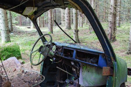 car wreck: Interior of an old car wreck standing in the forest