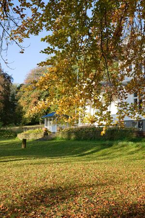 verandah: Houses with verandah and autumn colors in the garden