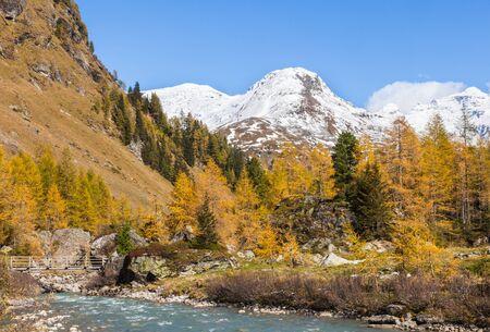 River in autumn alp landscape