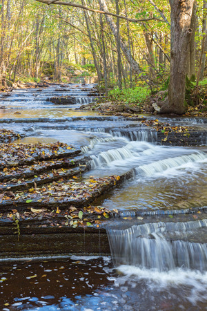 no rush: River flowing into a ravine of shale rock