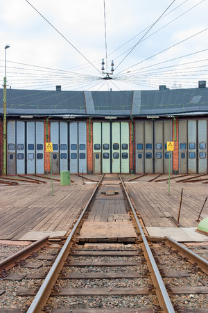 railtrack: Railway track to a roundhouse with a turntable Stock Photo