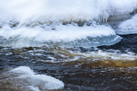 edge of the ice: Flowing water at the edge of the ice on the river Stock Photo