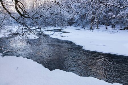 hoarfrost: Winter landscape by a river with hoarfrost and snow in the forest