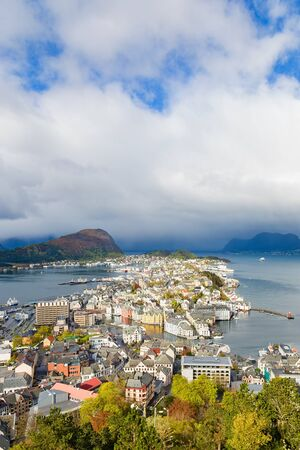 View of seascapes and Alesund on the Norwegian coast
