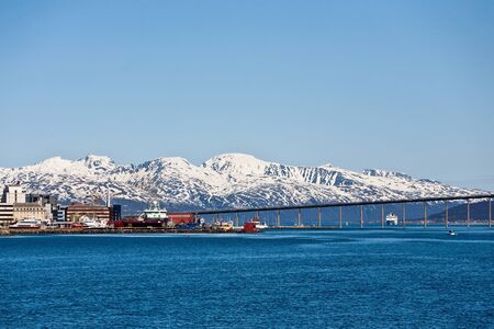 waterscapes: Tromsobridge, bridge over the bay in Tromso, Norway