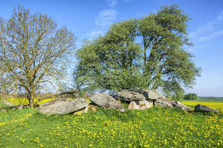 Passage grave on a hill in rural landscape