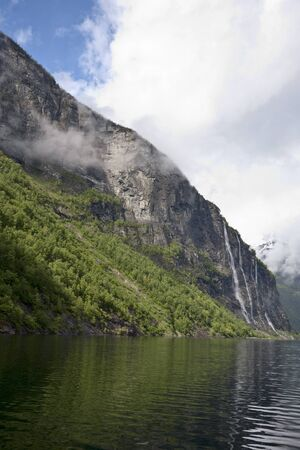 The Seven Sisters waterfall in Geiranger, Norway Stock Photo