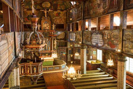 cherubs: Inside view of an old Wooden Church