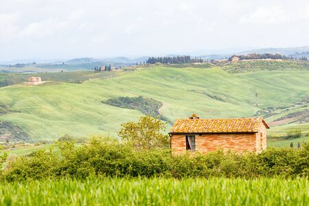 Small cottage in a rural Italian landscape Stock Photo