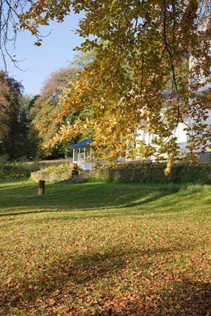 Houses with verandah and autumn colors in the garden