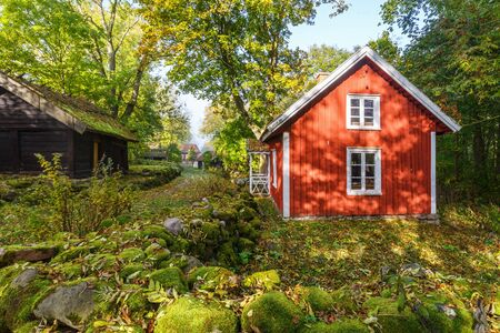 Idyllic red house in an old village