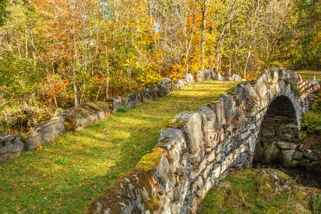 Old vault bridge over a river in a autumn landscape