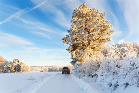 Car on a winter road with snow in the countryside Stock Photo