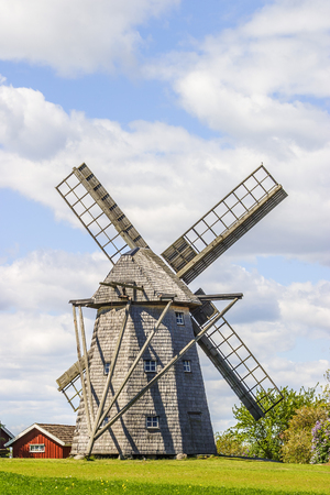 Windmill in a rural setting