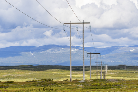 Power line in a heath landscape and mountains