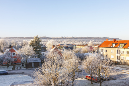 Winter morning in a rental house area