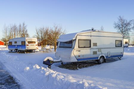 Winter camping caravans at a campsite
