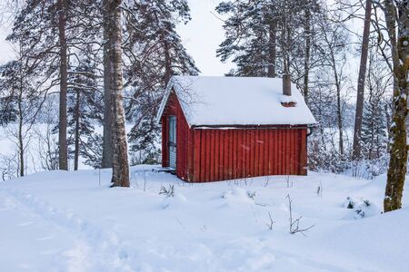 Red little cottage in the forest in snowy weather