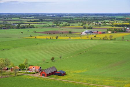 Aerial view landscape view at a farm with fields