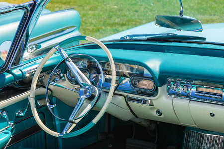 Interior of an old classic convertible