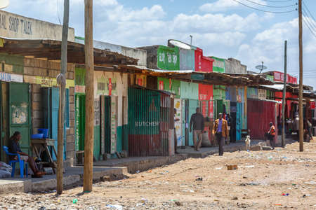Small shops in a poor area in Africa
