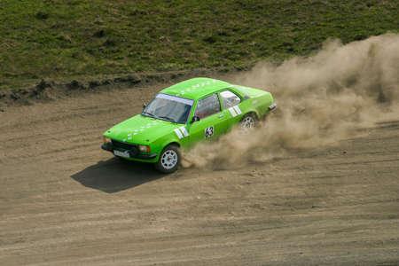 Rally car on a dusty race