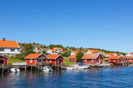 View to a idyllisky coastal village on the Swedish coast