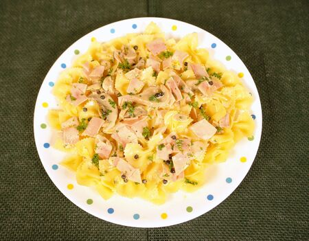 low cal:      Bow tie pasta with ham and creamy sauce