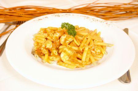 low cal: Jumbo shrimp and fish pasta