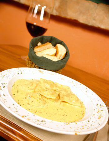 low cal: Stuffed ravioli Stock Photo