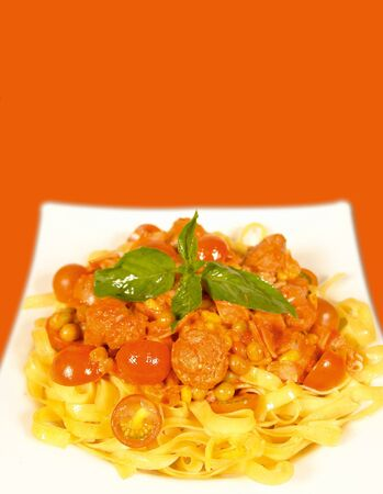 low cal: Fettucine and sausage Stock Photo
