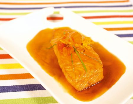 Honey glazed salmon fillet Stock Photo