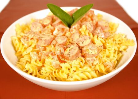 low cal: Spiral pasta with wieners