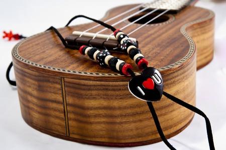A Ukulele with I Love U Strap Stok Fotoğraf