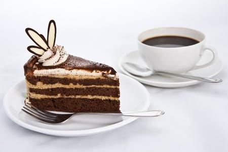 Three Layers Chocolate Cake with Hot Coffee